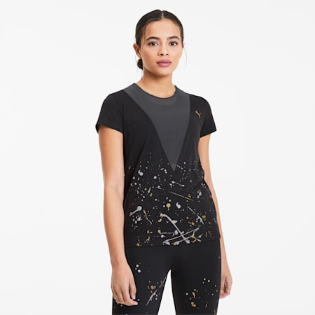 Metal Splash Deep Damen Training T-Shirt, Puma Black, small