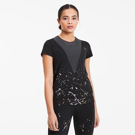 Metal Splash Deep-trænings-T-shirt til kvinder, Puma Black, small