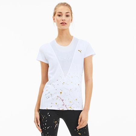 Metal Splash Deep V Women's Tee, Puma White, small