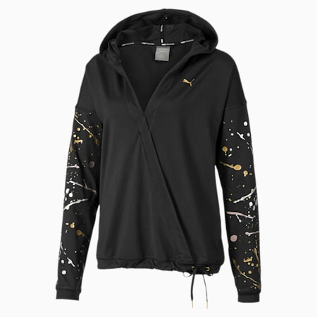 Metal Splash Lux Wrap Women's Training Hoodie, Puma Black, small