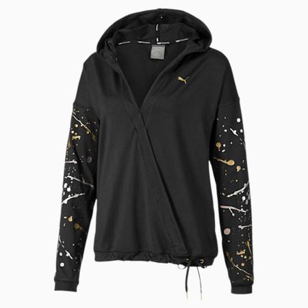 Sweatshirt desportiva com capuz Metal Splash Lux Wrap para mulher, Puma Black, small
