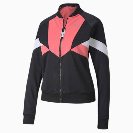 Last Lap Tricot Women's Track Jacket, Puma Black-Bubblegum, small-SEA