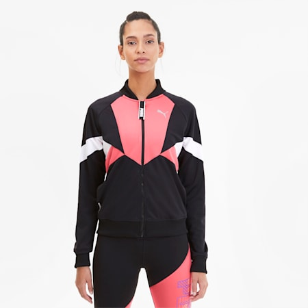 Last Lap Tricot Women's Track Jacket, Puma Black-Bubblegum, small-SEA