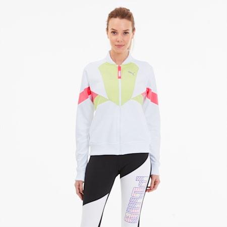 Last Lap Tricot-træningsjakke til kvinder, Puma White-Sunny Lime, small