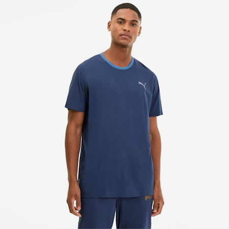 Reactive Men's Colorblock Training Tee, Dark Denim-White-Palace Blue, small