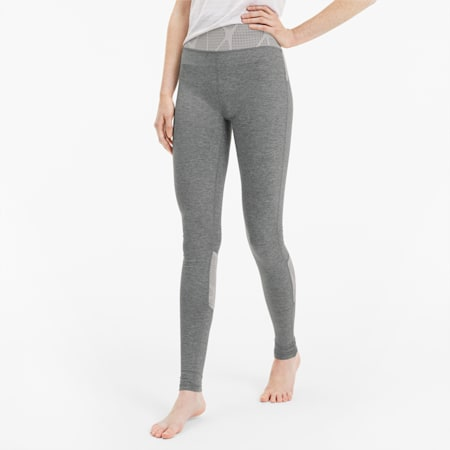 Lace Eclipse Women's Training Tights, Med Gray Heather-Rosewater, small