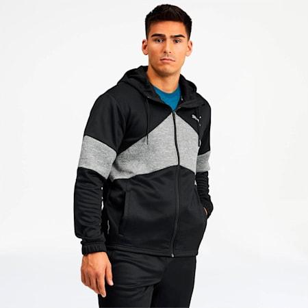 Extract Men's Hooded Jacket, Black-Medium Gray Heather, small