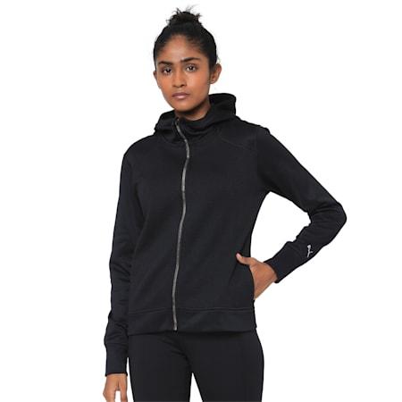 After Glow Fleece Full Zip Women's Hoodie, Puma Black, small-IND