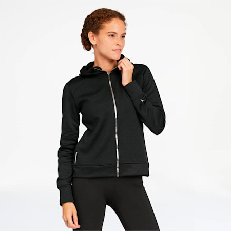 After Glow Women's Full Zip Hoodie, Puma Black, small