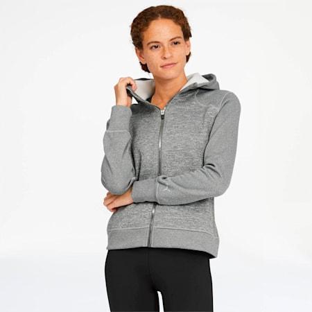 After Glow Women's Full Zip Hoodie, Medium Gray Heather, small