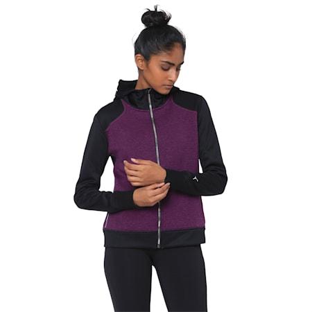 After Glow Fleece Full Zip Women's Hoodie, Plum Purple-Puma Black, small-IND