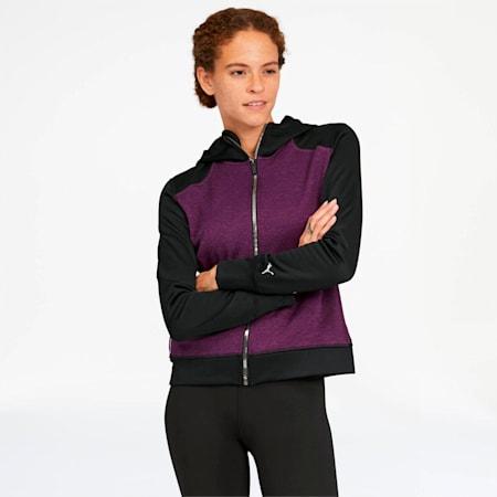 After Glow Women's Full Zip Hoodie, Plum Purple-Puma Black, small