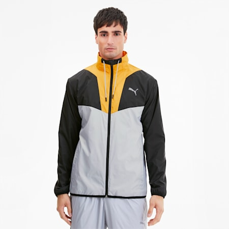 Reactive Men's Track Jacket, High Rise-Black-Golden Rod, small