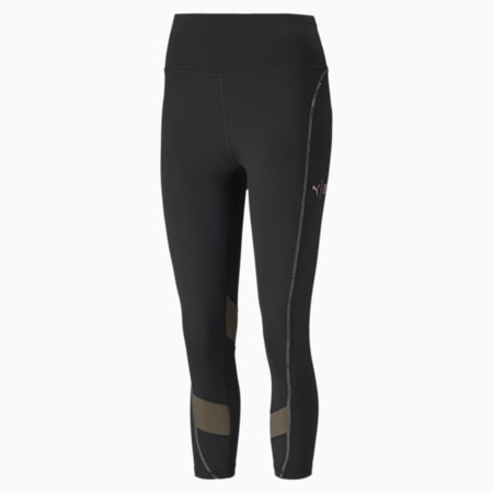 Pantaloni aderenti da training da donna PUMA x FIRST MILE 3/4 Eclipse, Puma Black-Burnt Olive, small