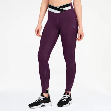 Metallic Feel It Women's Leggings, Plum Purple-Puma Black, small