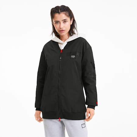 AL x PUMA Women's Long Bomber Jacket, Puma Black, small
