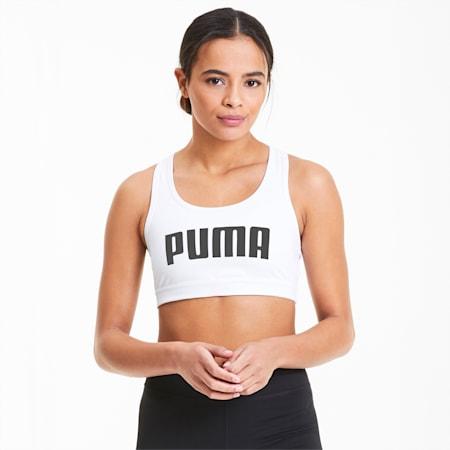 Reggiseno sportivo da donna 4Keeps, Puma White-Puma Black PUMA, small