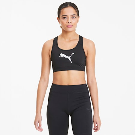 4Keeps Women's Mid Impact Bra, Puma Black-Puma White Cat, small