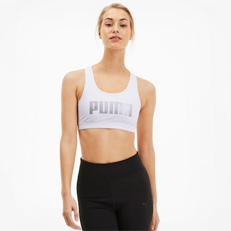 4Keeps Women's Mid Impact Bra, Puma White-gold PUMA, small-GBR
