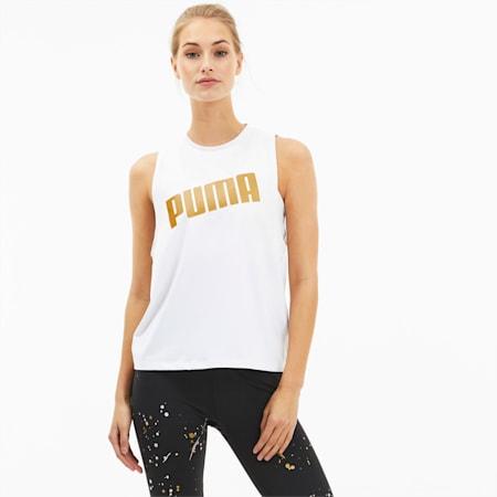 Metal Splash Adjustable-træningstanktop til kvinder, Puma White, small