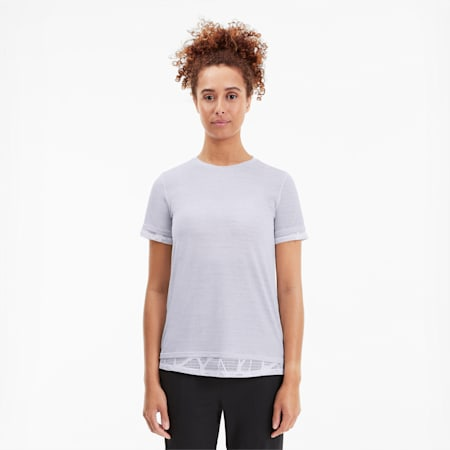 Studio Mixed Lace Women's Tee, Puma White Heather, small