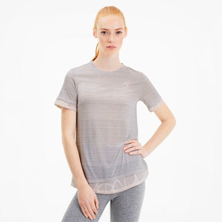 Studio Mixed Lace Women's Training Tee, Rosewater, small