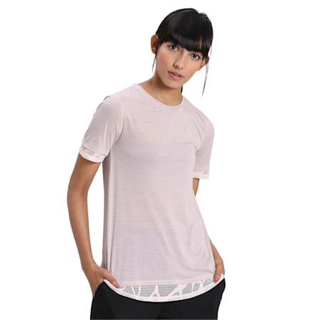 Studio Mixed Women's Lace Tee, Rosewater, small-IND