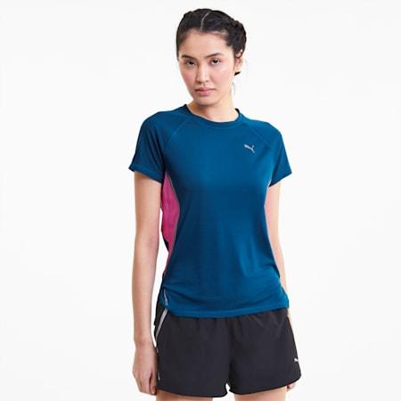 T-shirtCat découpé au laser, femme, Bleu digi, petit