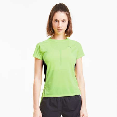 Lite Laser Cat Damen Lauf-T-Shirt, Fizzy Yellow, small