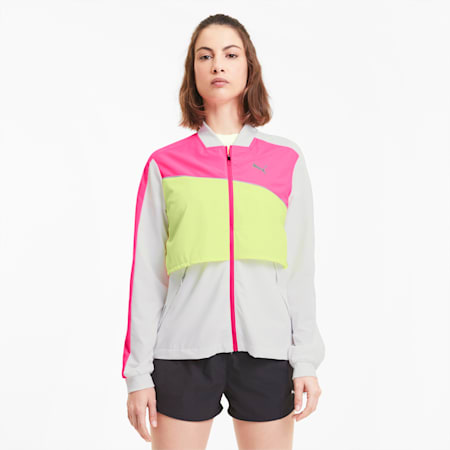 Ultra Women's Running Jacket, WhiteLuminousPinkFizzyYellow, small