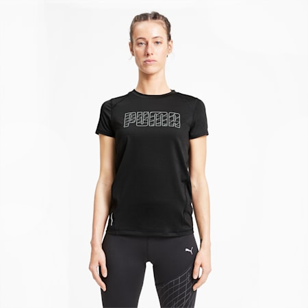 Short Sleeve Women's Running T-Shirt, Puma Black, small-IND