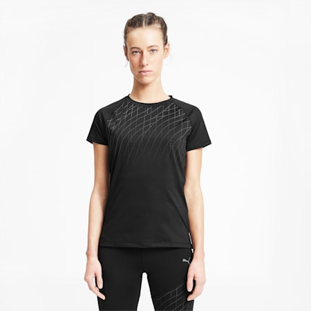 Graphic Short Sleeve Women's Running Tee, Puma Black, small-SEA
