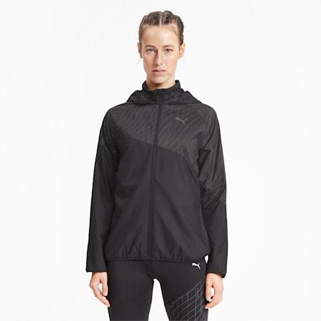 Graphic Hooded Women's Running Jacket, Puma Black, small