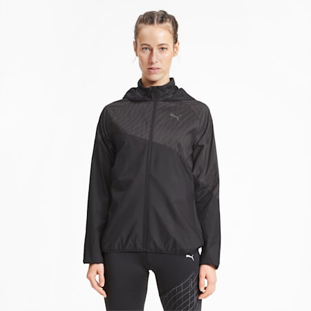 Graphic Hooded Women's Running Jacket, Puma Black, small-SEA