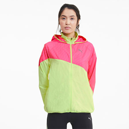 Graphic Hooded Women's Running Jacket, Fizzy Yellow-Luminous Pink, small