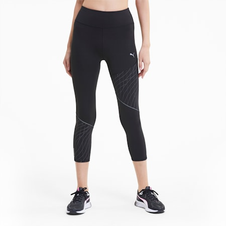 Graphic 3/4 dryCELL Reflective Tec Women's Running Leggings, Puma Black, small-IND