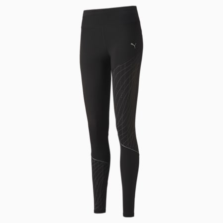Graphic Long Women's Running Leggings, Puma Black, small-SEA