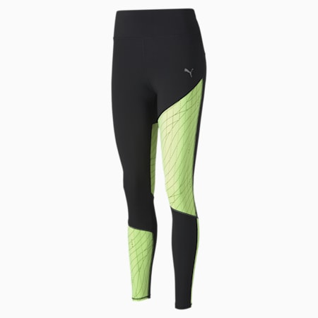 Graphic Long Women's Running Leggings, Puma Black-Fizzy Yellow, small-SEA