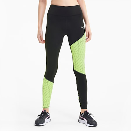 RUN Graphic Long Women's Running Tights, Puma Black-Fizzy Yellow, small-IND