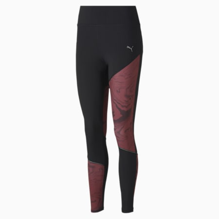 RUN Graphic Long Women's Running Tights, Puma Black-Burgundy, small-IND