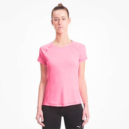 Runner ID dryCELL Women's Running Fitted T-Shirt, Luminous Peach Heather, small-IND