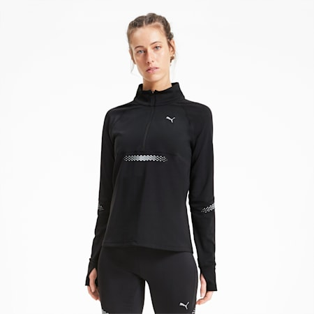 Runner ID Women's Quarter Zip Running Jacket, Puma Black, small
