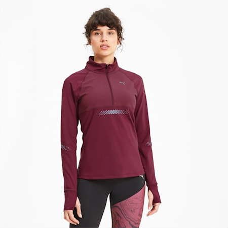 Runner ID dryCELL Women's Running Jacket, Burgundy, small-IND