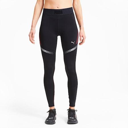 Runner ID Women's Full Length Running Leggings, Puma Black-Burgundy, small