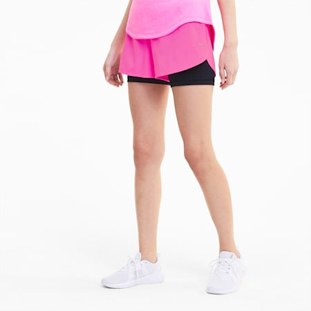 Run Favorite Women's 2-in-1 Shorts, Luminous Pink-Puma Black, small