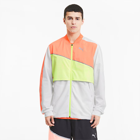 Ultra Woven Men's Running Jacket, Pma Wht-Nrgy Pch-Fizzy Yllw, small