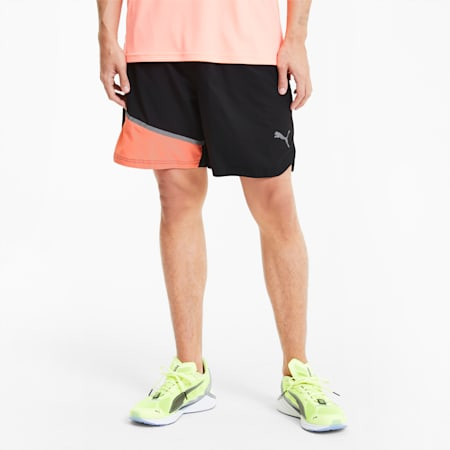 Run Lite Men's Woven Shorts, Puma Black-Nrgy Peach, small