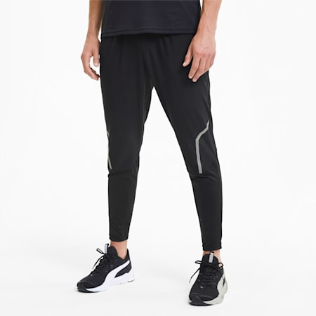 RUN Tapered Slim Fit Woven Men's Running Pants, Puma Black, small-IND