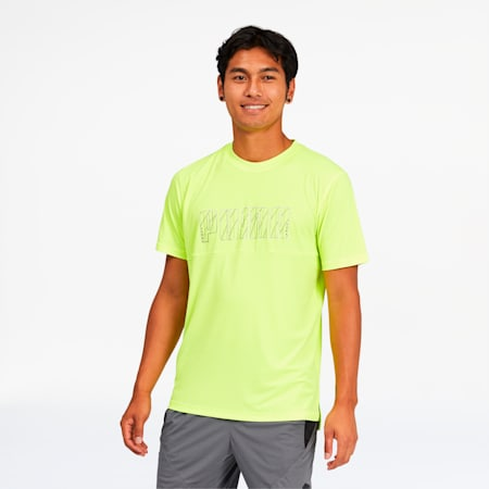 Run Men's Logo Tee, Fizzy Yellow, small