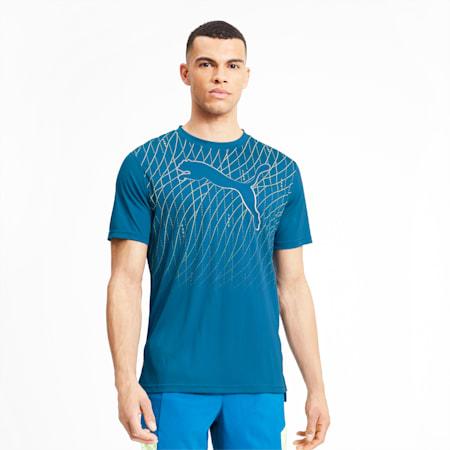 Graphic Cat Short Sleeve Men's Running T-Shirt, Digi-blue, small-IND